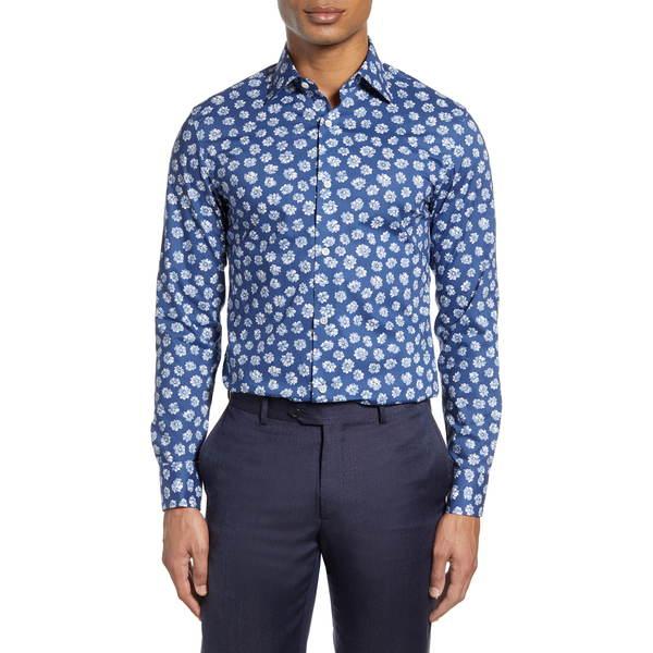 ボノボス メンズ シャツ トップス Slim Fit Floral Dress Shirt Serra Floral Dark Surf