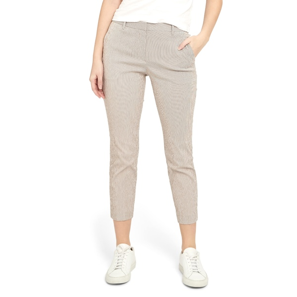 セオリー レディース カジュアルパンツ ボトムス Treeca Seersucker Ankle Pants Beige/ White