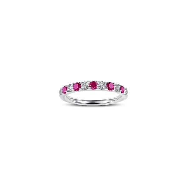 ラフォン レディース リング アクセサリー Simulated Diamond Birthstone Band Ring July - Red/ Silver