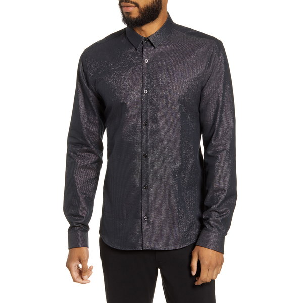 フューゴ メンズ シャツ トップス Slim Fit Metallic Button-Up Shirt Black