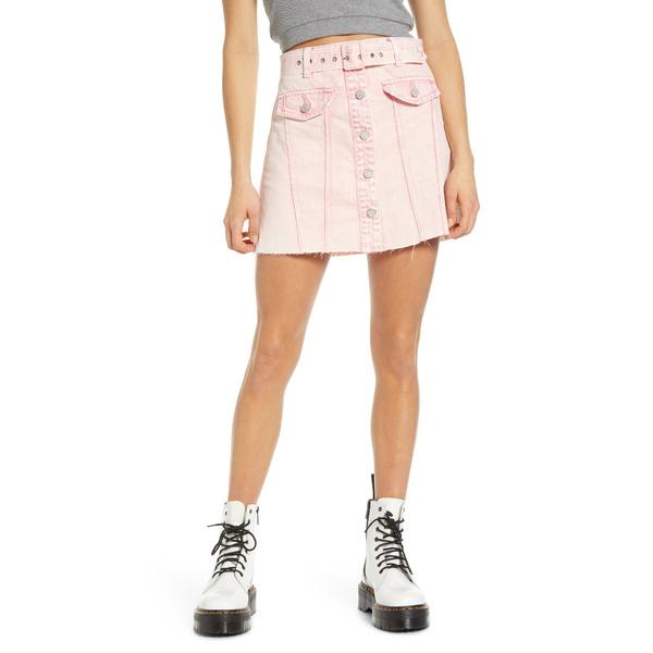 ブランクニューヨーク レディース スカート ボトムス Belted Denim A-Line Miniskirt Tutti Fruitti