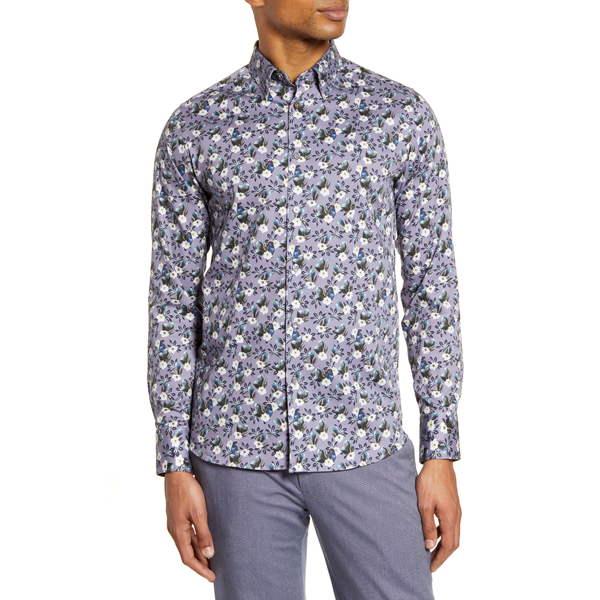 テッドベーカー メンズ シャツ トップス Shecan Slim Fit Floral Button-Up Shirt Lilac