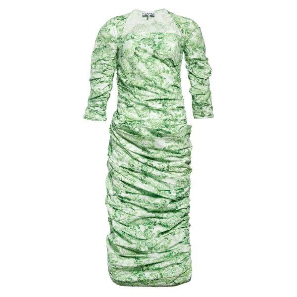 ガニー レディース ワンピース トップス Square Neck Ruched Poplin Midi Dress Island Green