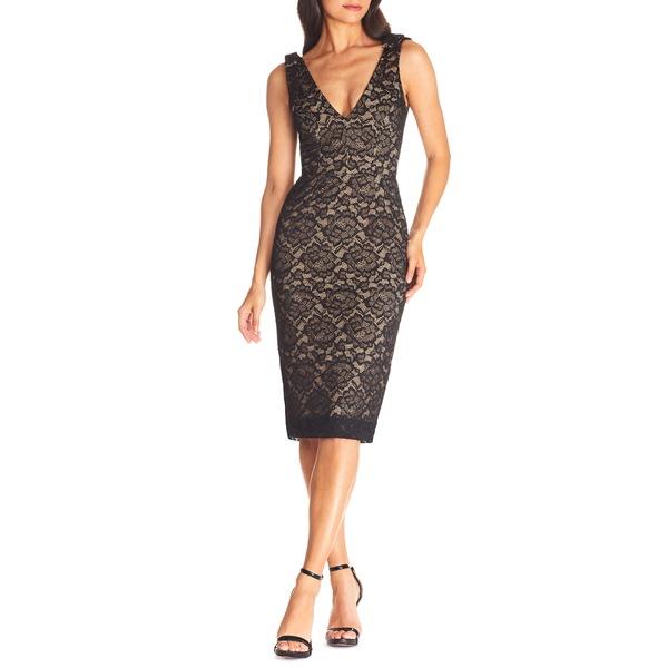 ドレスザポプレーション レディース ワンピース トップス Mary Lace Body-Con Cocktail Dress Black