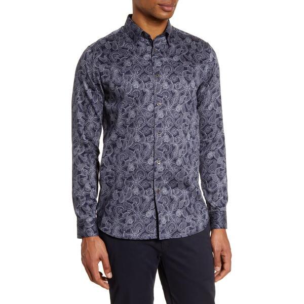 テッドベーカー メンズ シャツ トップス Forsure Slim Fit Paisley Button-Up Shirt Navy