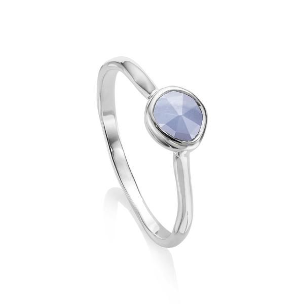 モニカヴィナダー レディース リング アクセサリー Siren Small Stacking Ring Silver/ Blue Lace Agate