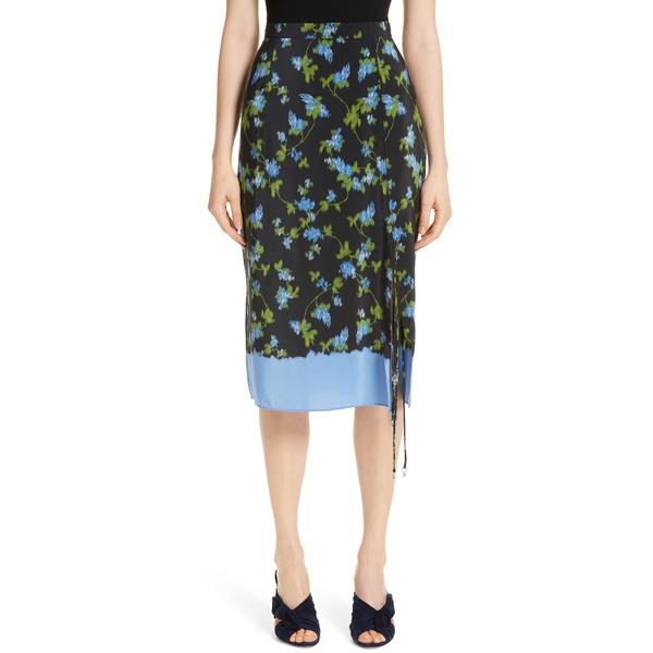 アルチュザラ レディース スカート ボトムス Floral Print Tie Detail Silk Skirt Black