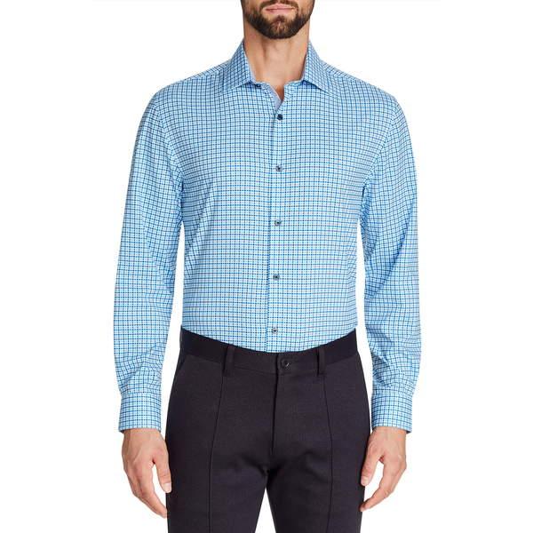 ダブリューアールケー メンズ シャツ トップス Trim Fit Check Performance Stretch Dress Shirt Blue