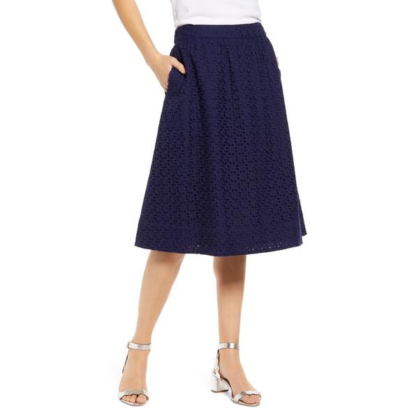 ワンナインオーワン レディース スカート ボトムス Eyelet A-Line Skirt Navy Peacoat