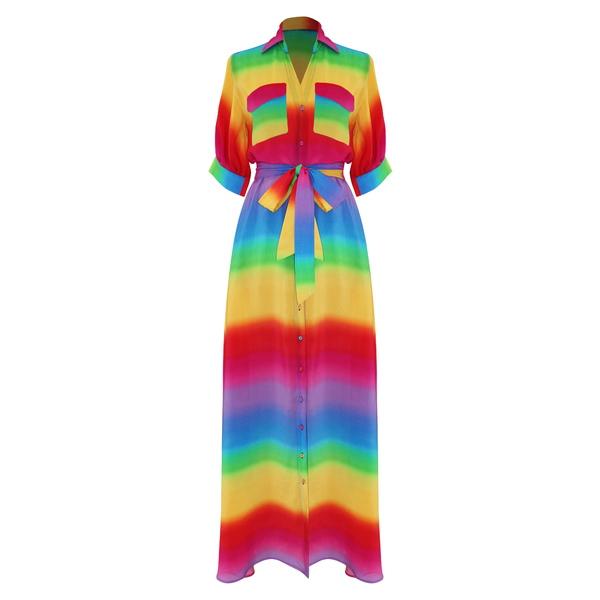 オールシングスモチ レディース ワンピース トップス Iska Rainbow Stripe Silk Maxi Shirtdress Rainbow