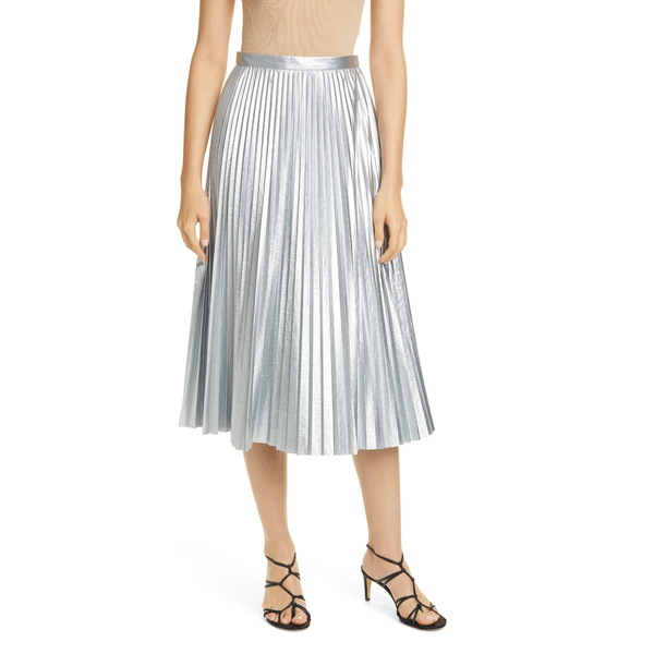 ティビ レディース スカート ボトムス Metallic Pleated Skirt Silver