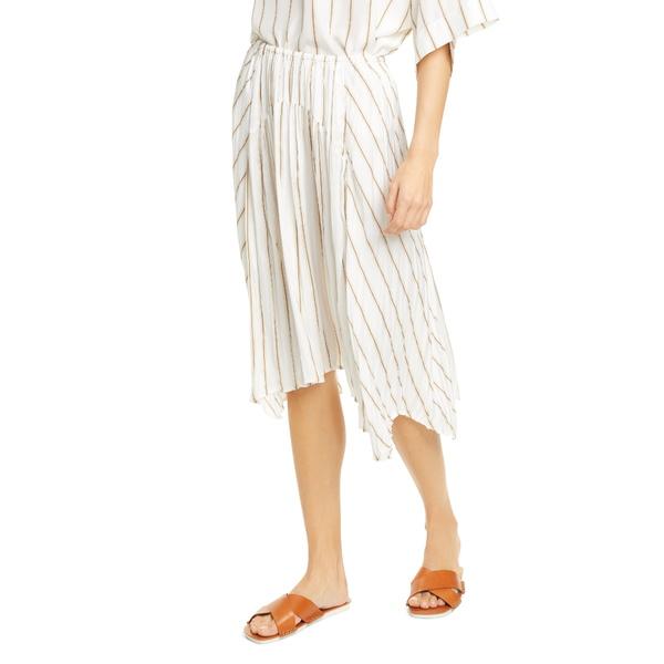 ヴィンス レディース スカート ボトムス Stripe Gauze Panel Skirt Optic White