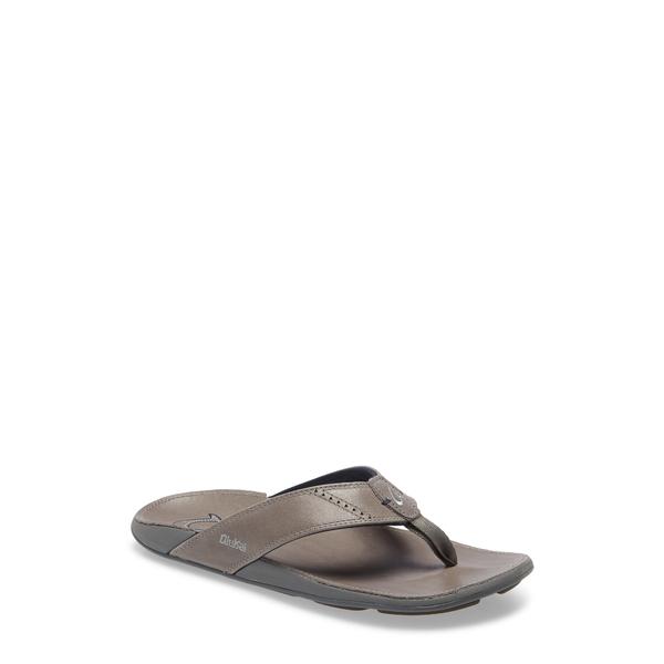オルカイ メンズ サンダル シューズ 'Nui' Leather Flip Flop Charcoal Leather