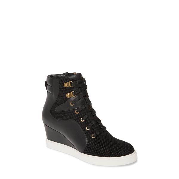 リネアパウロ レディース スニーカー シューズ Fleur Wedge Sneaker Black Nappa Leather