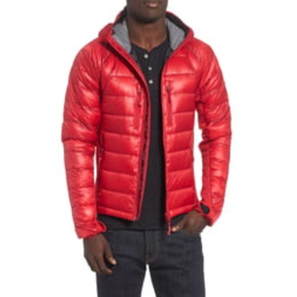 カナダグース メンズ ジャケット&ブルゾン アウター 'Hybridge Lite Hoody' Slim Fit Packable Jacket Black / Red