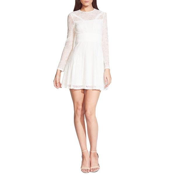 バードット レディース ワンピース トップス Tiana Lace Long Sleeve Minidress Ivory