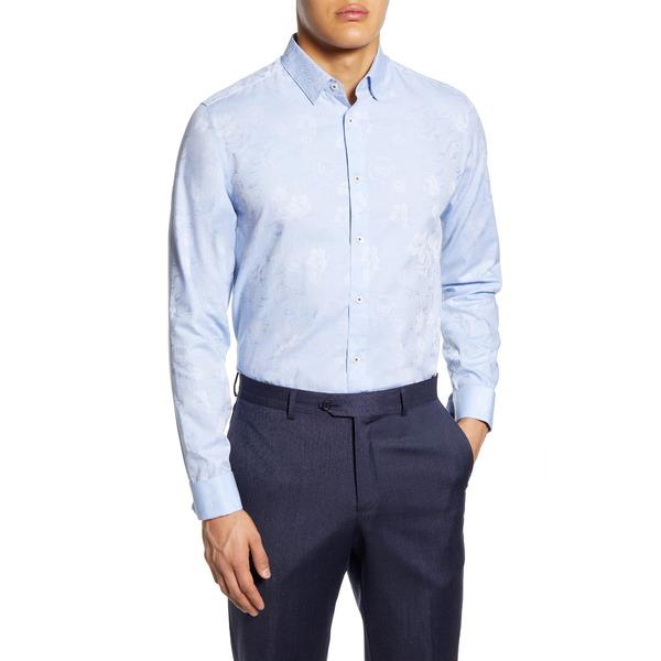テッドベーカー メンズ シャツ トップス Modern Fit Floral Dress Shirt Lt-Blue