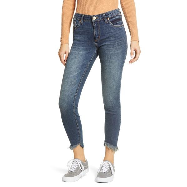 STSブルー レディース デニムパンツ ボトムス Fray Hem Crop Skinny Jeans Dark Wash