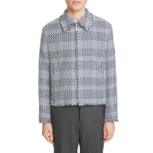 トムブラウン メンズ ジャケット&ブルゾン アウター Frayed Tweed Golf Jacket Navy