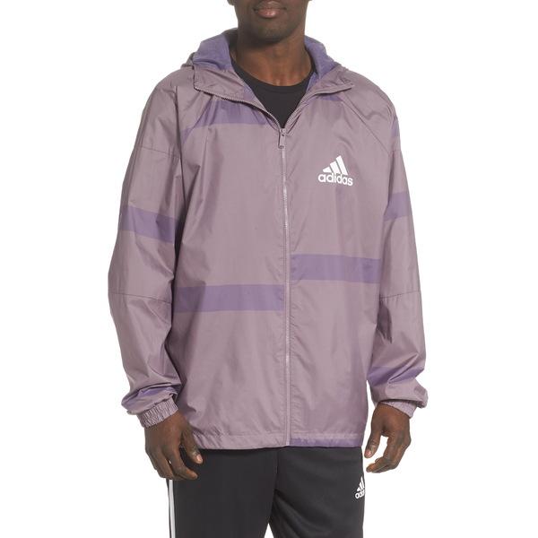 アディダス メンズ ジャケット&ブルゾン アウター Water Repellent Hooded Windbreaker Legacy Purple