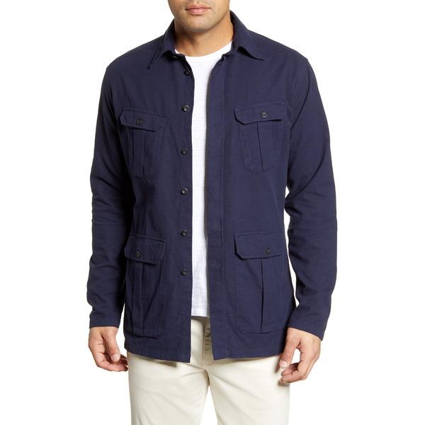 エトン メンズ シャツ トップス Soft Casual Line Contemporary Fit Casual Shirt Jacket Navy