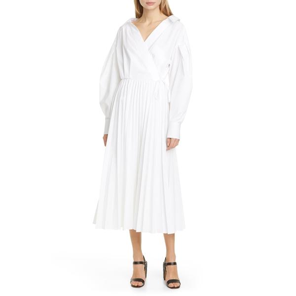 ヴァレンティノ レディース ワンピース トップス Pleated Long Sleeve Midi Wrap Dress Bianco