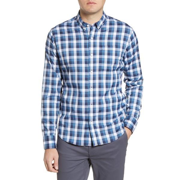 トミージョン メンズ シャツ トップス Go Anywhere Check Button-Up Performance Shirt Dress Blues Oversized Gingham