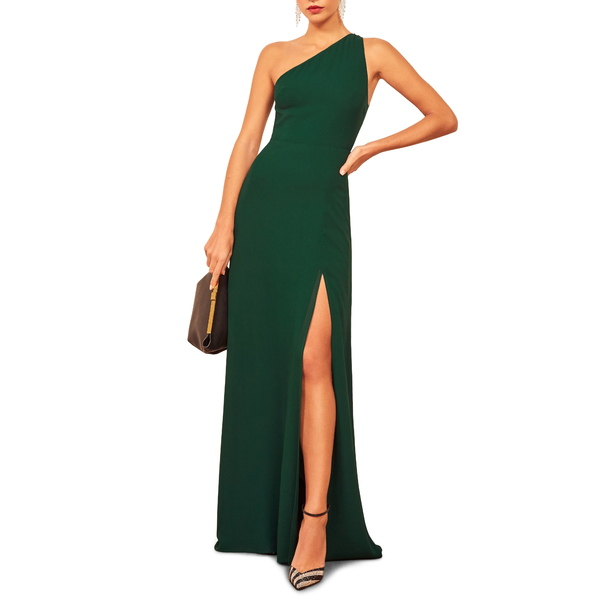 リフォメーション レディース ワンピース トップス Evelyn One-Shoulder Gown Emerald