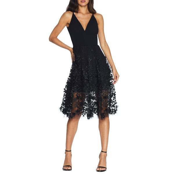 ドレスザポプレーション レディース ワンピース トップス Darleen V-Neck Embroidered Mesh Cocktail Dress Black