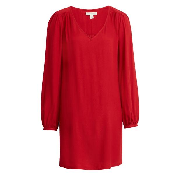 トレジャーアンドボンズ レディース ワンピース トップス V-Neck Long Sleeve Shift Minidress Red Chili
