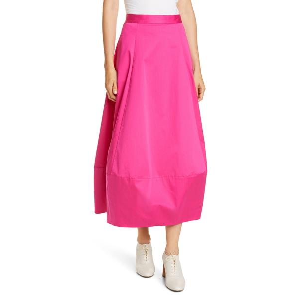 コー レディース スカート ボトムス Bubble Poplin Midi Skirt Cerise