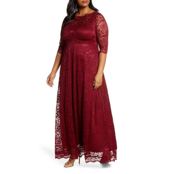 キヨナ レディース ワンピース トップス Kiyonna Leona Lace Evening Gown (Plus Size) Pinot Noir