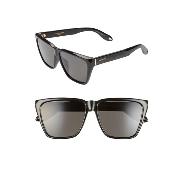 ジバンシー レディース サングラス&アイウェア アクセサリー Givenchy 58mm Polarized Flat Top Sunglasses Black/ Grey