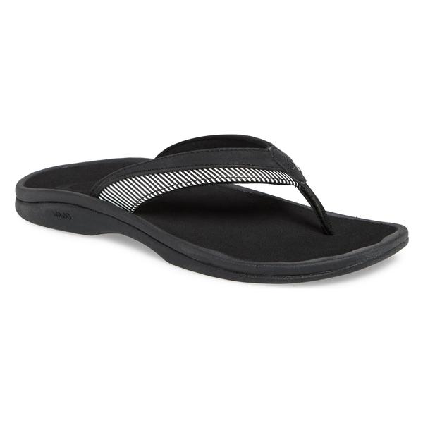 オルカイ レディース サンダル シューズ OluKai Wehi 'Ohana Flip Flop (Women) Black/ Stripe Fabric