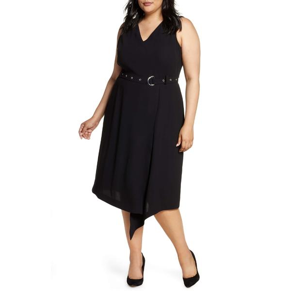 ヴィンスカムート レディース ワンピース トップス Vince Camuto Belted Asymmetrical Hem Sleeveless Matte Crepe Dress (Plus Size) 060-Rich Black