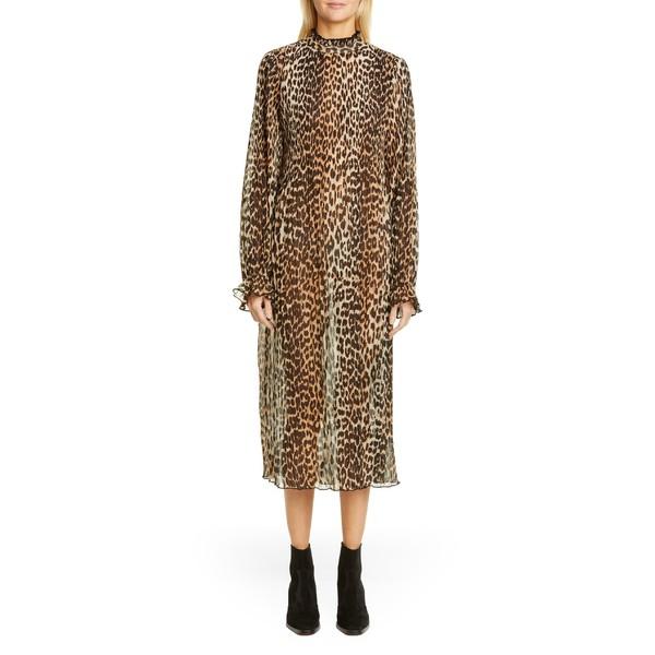ガニー レディース ワンピース トップス Ganni Leopard Print Sheer Georgette Long Sleeve Midi Dress Leopard