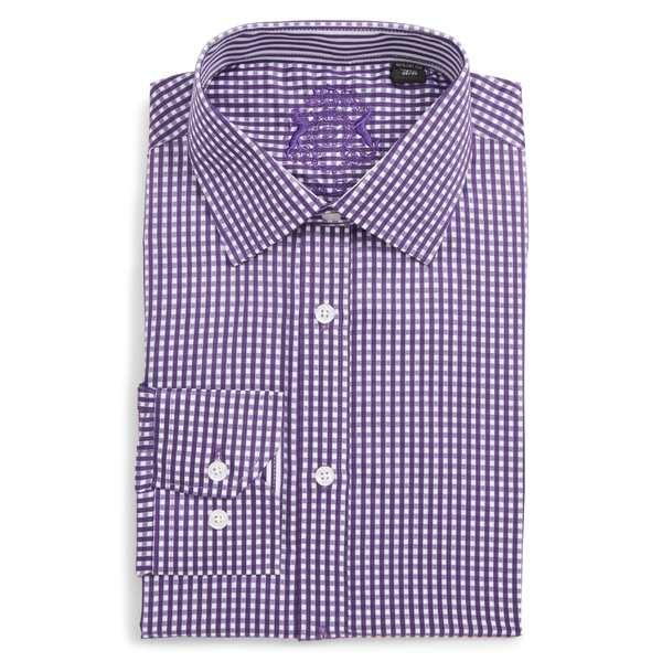 イングリッシュランドリー メンズ シャツ トップス English Laundry Trim Fit Check Dress Shirt Lilac