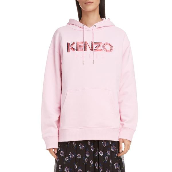ケンゾー レディース パーカー・スウェットシャツ アウター KENZO Cord Logo Cotton Hoodie Pastel Pink