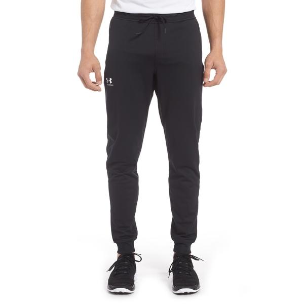 アンダーアーマー メンズ カジュアルパンツ ボトムス Under Armour Sportstyle Slim Fit Knit Jogger Pants Black/ White
