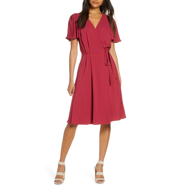 ギャルミーツグラムコレクション レディース ワンピース トップス Gal Meets Glam Collection Kinsley Flutter Sleeve Wrap Dress Candy Apple