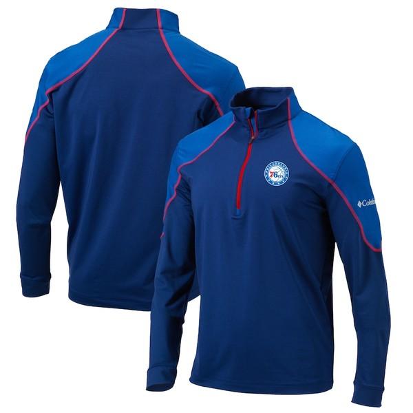 コロンビア メンズ ジャケット&ブルゾン アウター Philadelphia 76ers Columbia Omni-Wick Half-Zip Panel Pullover Jacket Blue/Red