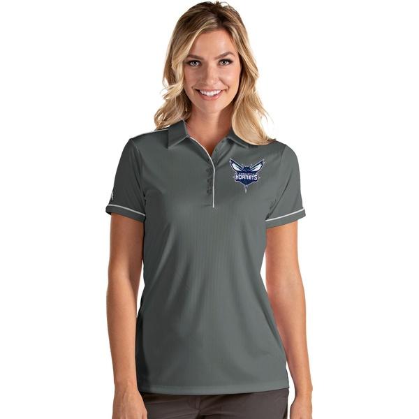 Antigua レディース トップス ポロシャツ Gray White 全商品無料サイズ交換 アンティグア Women's Hornets スーパーSALE お気にいる セール期間限定 Salute Polo Charlotte Shirt
