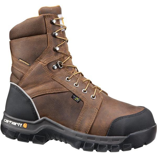 Carhartt メンズ シューズ ブーツ レインブーツ Brown 全商品無料サイズ交換 カーハート Men's 8 in Toe Met Lace ☆最安値に挑戦 新作 大人気 EH Internal Work Composite Guard Up Boots