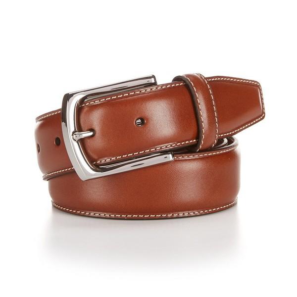 クレミュ メンズ ベルト アクセサリー Daniel Cremieux Glazed Leather Belt Tan