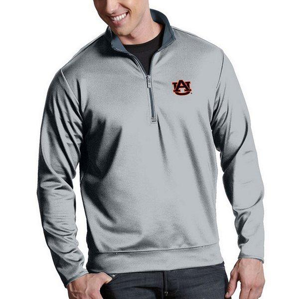 アンティグア メンズ ニット&セーター アウター NCAA Leader Quarter-Zip Pullover Auburn Tigers Silver
