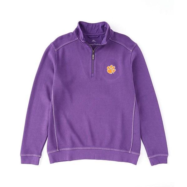 トッミーバハマ メンズ ニット&セーター アウター Collegiate Nassau Half-Zip Pullover Clemson Tigers Purple