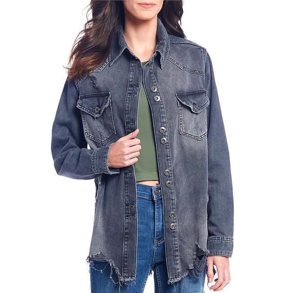 フリーピープル レディース ジャケット&ブルゾン アウター Moonchild Distressed Denim Shirt Jacket Black