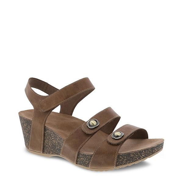 ダンスコ レディース サンダル シューズ Savannah Banded Leather Wedge Sandals Tan Waxy Burnished