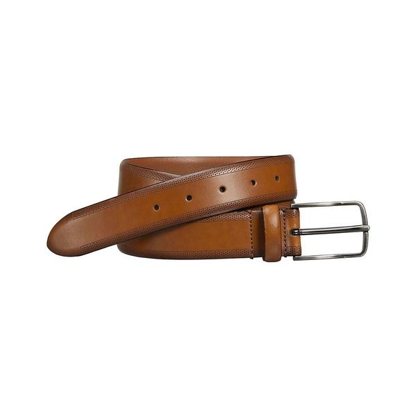 ジョンストンアンドマーフィー メンズ ベルト アクセサリー Men's Edge Perforated Embossed Belt Tan