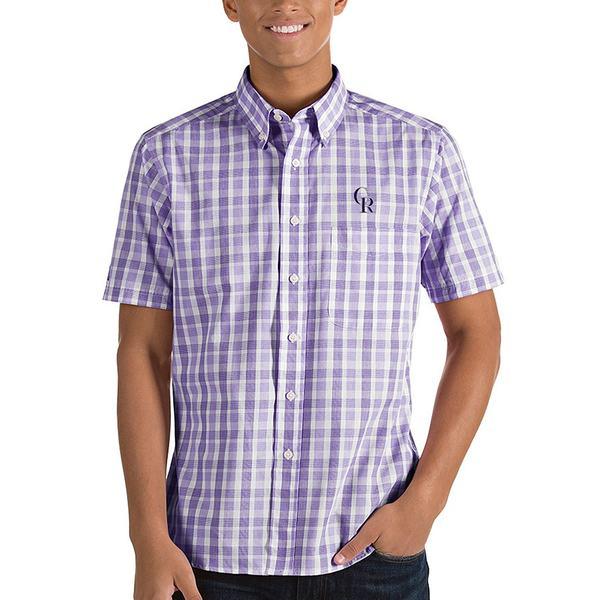 アンティグア メンズ シャツ トップス MLB Crew Short-Sleeve Woven Shirt Colorado Rockies Purple